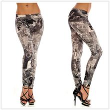 Seamless black and white newspaper printed denim leggings