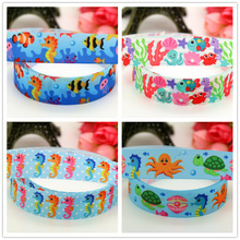 DHK 7/8'' Free shipping sea horse animals printed grosgrain Ribbon headwear hair bow diy party decoration OEM 22mm B1518(China)