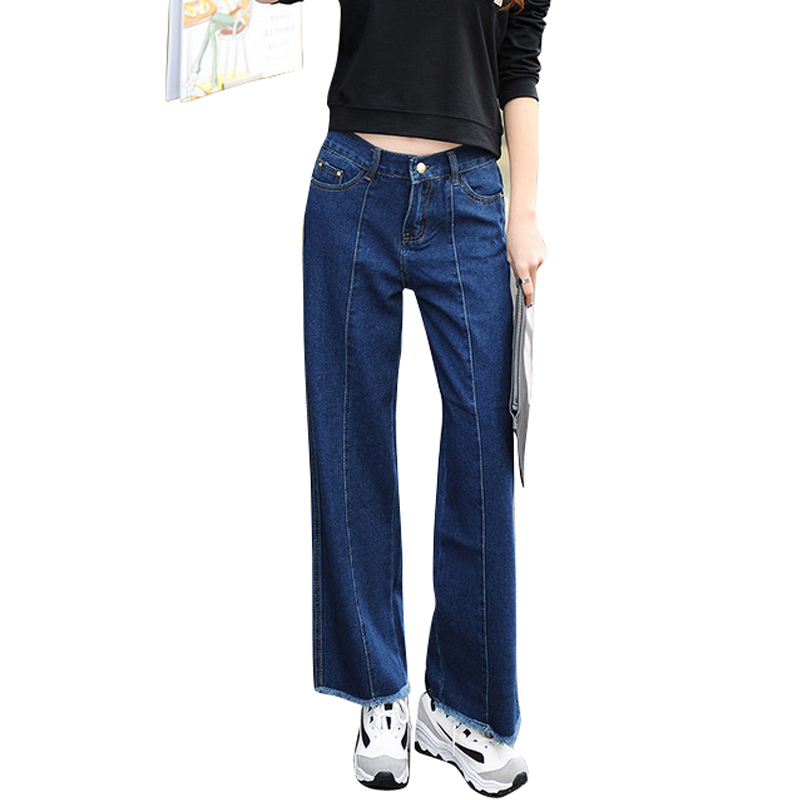 2017 New Spring Summer Women Wide Leg Jeans Pants Boyfriend Mom Trousers Baggy Loose Lady Tassel Ankle-Length Jeans Pants femaleОдежда и ак�е��уары<br><br><br>Aliexpress