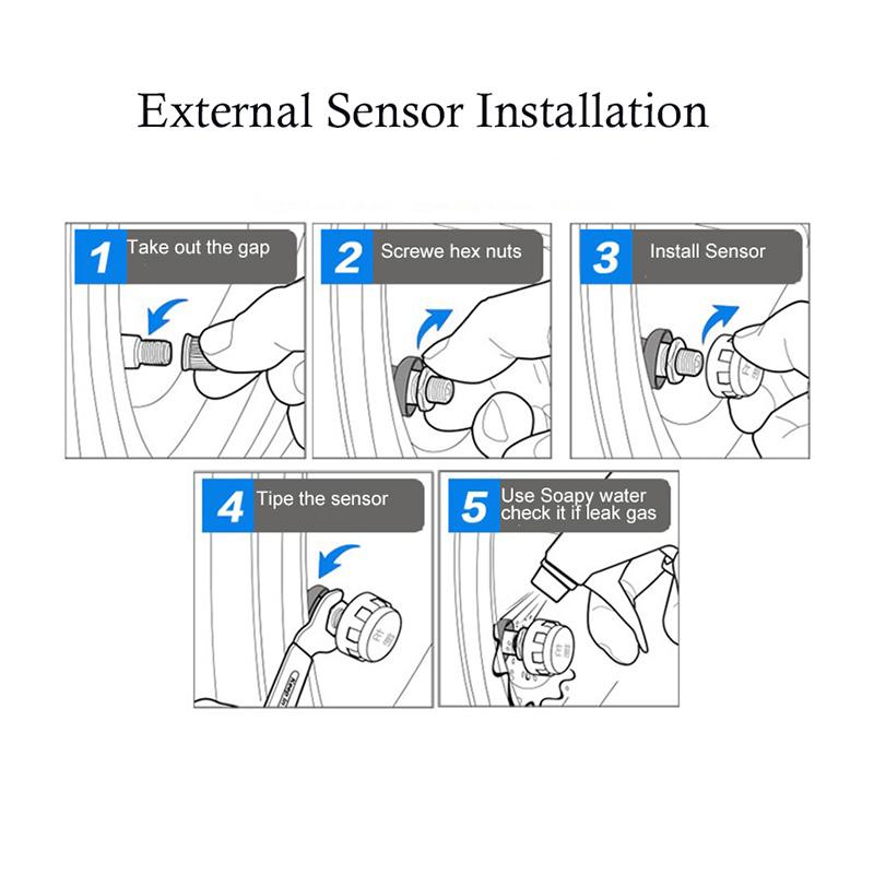 TPMS Solar Wireless Car Tire Pressure Indicator 4 External Sensor Energy Display LCD Screen Car Alarm System 1 (5)