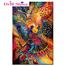 Drill Shiny Peacock Diamond Painting 3D Diamond Embroidery Full Square Cross Stitch Rhinestone Mosaic Painting Home Decor Gift(China)