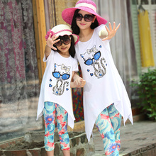2016  Family set clothes for mother and daughter  summer Cartoon cat  clothing sets Summer parent-child suit family clothes suit