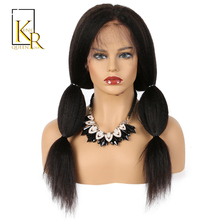 Kinky Straight Wig Brazilian Remy Lace Front Human Hair Wigs For Black Women Italian Yaki With Baby Hair King Rosa Queen(China)