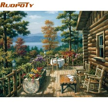 RUOPOTY Garden DIY Painting By Numbers Modern Wall Art Handpainted Oil Painting On Canvas For Living Room Unique Gift Artwork(China)