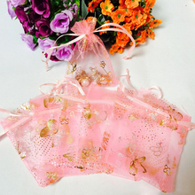 2016 New Free Shipping 100pcs/1Pack Pink Butterfly Drawstring Organza Wedding Gift Jewellery Candy Pouch Bags