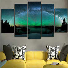 5 Piece Aurora Borealis Wall Picture Night Scenery Canvas Art Painting Posters Print Wall Hanging for Home or Office Decor