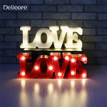 DELICORE Romantic Small White LOVE Marquee Sign Night Lights For Home Wedding Decoration Valentine Gift S091(China)