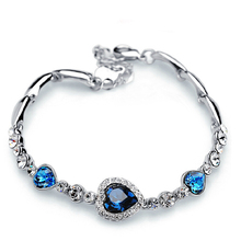 Stylish Women New Fashion Ocean Blue Sliver Plated Crysta Imitation Rhinestone Heart Charm Bracelet Bangle Gift Jewelry