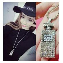 na350 New Fashion Jewelry plating Sliver Plated Pendnats Perfume bottles Elegant Long Chains Necklace(China)