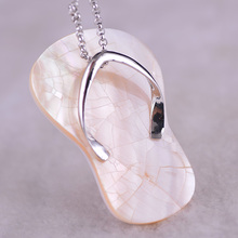 2017 Silver Fashion Necklace Slipper White Oyster Seashell Oyster Sea Shell Necklaces Pendants Handmade Women Gift Nice Jewelry