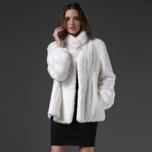 2016 Women Real Raccoon fur coats,Genuine Leather,White mink coat ,Fashion Slim Winter coats of fur,sell well natural fur