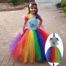 Children Girl Rainbow Tutu Dress Princess Little Horse Tutu Dresses Little Girls Dress Up Fancy Tutus Baby Clothing Christmas(China)