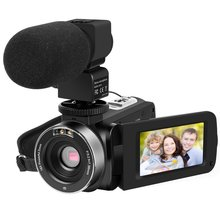 301STRM FHD Touch Screen Video Camera 1080P Digital Camcorder 16X Zoom Video Recorder with Microphone 270 Degree Rotation Screen