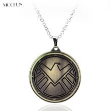 MQCHUN Movie Jewelry Agents Of Shield Necklace pendants Badge Logo Pendant Collier Men Necklaces Christmas Party Gift necklace