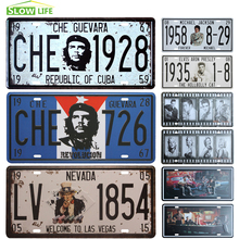 Che Guevara Car Metal License Plate Vintage Home Decor Tin Sign Bar Pub Cafe Garage Decorative Metal Sign Art Painting Plaque