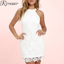 Rerasser Fashion Summer Women Hollow Out Sexy Mini Dresses Office Vintage Printing White Lace Dress Sleeveless Halter Club Dress