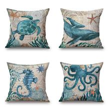 "Marine Ocean Style Sea Turtle Patterns Square 18"" Cotton Linen Sea Horse Sofa Throw Cushion Covers octopus Home Decor Pillows"
