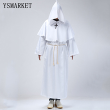 Halloween Comic Con Party Cosplay Costume Monk Hooded Robes Cloak Cape Friar Medieval Renaissance Priest Men For Men E18523(China)