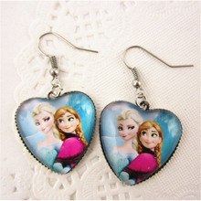 DIWEINI 1pcs Snow Queen Elsa Peach Glass Crystal Heart Pendant Earrings children Girls Gifts Birthday Party Wedding Party Favors(China)
