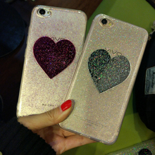 Best Gift Luxury Bling Glitter phone case For iphone 7 6 6SPlus Fashion Transparent Shine Love Heart Back Cover For OPPO R9 R9S(China)