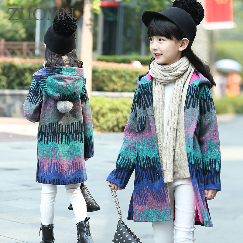 Christmas Girls Coats and Jackets Winter Girls Hooded Kids Coat Menina Baby Girls Outerwear Colorful Clothes Fashion Tweeds G219<br>