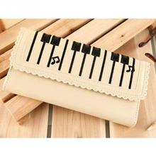 Women 2-Layer Purse Lovely Medium Type Card Bag Creative Piano Keys Pattern Pocket Money Bags brand new
