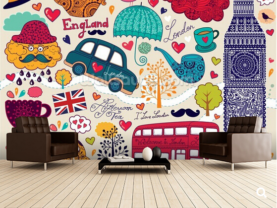 Custom kids wallpaper,Kids London Montage,3D cartoon mural for living room childrens room park backdrop waterproof wallpaper<br>