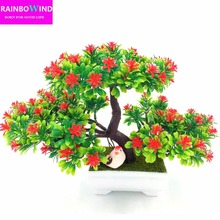 1pc Welcoming Pine Bonsai Simulation Decorative flowers and wreaths Artificial Flowers Fake Green Pot Plants Home Decor