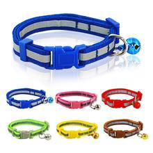 Nylon Reflective Pet dog Collar Small Dogs Cat Puppy Necklace with Bell For Chihuahua 1.0cm/1.5cm Width