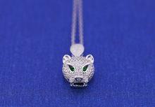 Fashion 2016 Brand Luxury panther Jewelry Women's 925 Silver Pendant Necklace  Silver plated zircon Leopard Necklace