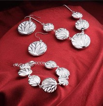 Tree of life charms necklace earrings bracelets sets for Women girls 925 stamped silver plated round shape fashion jewelry(China)