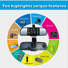 multifunction HD 5''Rearview Mirror DVR +BT headset+WIFI+FM Transmitter+Parking+3D Live navigation Android Rearview Mirror GPS