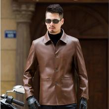 2017 Autumn winter new mens business casual leather coat spring brand brown leather jacket men motorcycle leather coat plus size(China)