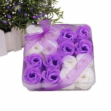 2 boxes/lot Mix Colors Rose Petal Soap Flower in PVC Box for Romantic Bath Wedding Small Gift Creative Gift