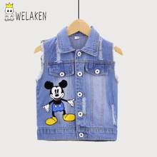 Welaken Spring Outfit for Children Boy and Girl Children Clothing Denim Vest Cartoon Outwear for Kid's Apparel Outwear & Coat