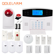 Russian/Italian/French gsm home alarm system wireless outdoor strobe siren alarm systems security home panic button PIR motion