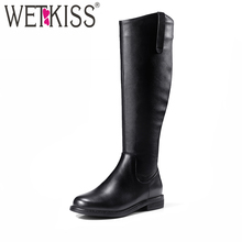 Buy WETKISS 2018 New Style Knee High Knight Boots Concise Autumn Winter Boots Genuine Leather Women Shoes Side Zipper Square Heel for $54.04 in AliExpress store