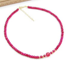 Vintage Classic Laboratory-created Natural Stone Jewelry Beautiful Rubies Beaded Chain with Red Tourmaline Choker Necklace 46cm