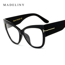 MADELINY Fashion Women Cat Eye Glasses New Oversized Vintage Eyeglass Frame Luxury Clear Lens Glasses lunette de vue MA025(China)