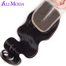 Ali Moda Lace Closure Brazilian Body Wave Closure Middle Part 1pc Remy Hair 130% Density Can Be Dyed And Bleached