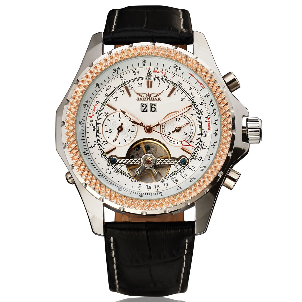 2016 Luxury Brand JARAGAR Tourbillon Grid Gear Case Automatic Calendar Week Dial Real Leather Band Men Mechanical Wrist Watches<br>
