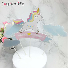 JOY-ENLIFE 1set Rainbow Unicorn Cake Topper Baby Shower Birthday Party Decor Children Kids Party Cake Decor Supplies