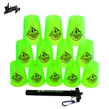Likiq 12pcs/set Speed cups Rapid Game Sport Flying Stacking Christmas gift with net bag and hand lever sports special shape toys(China)