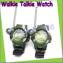 "1Pair 0.8"""" LCD Radio 50~150M Watches Walkie Talkie w/ Lights Mic"