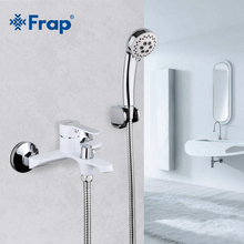 FRAP White Bathroom Fixture Waterfall Restroom Bath Shower Faucets Set Wall Mounted Bathtub Cold and Hot Water Mixer F3241(China)