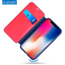 X-Level PU Leather Card Case For iPhone X Business Style Flip Phone Case for iPhone X Luxury Stand Case Cover(China)