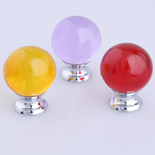 30mm glass ball drawer tv table shoe cabinet knobs pulls brown purple red glass crystal kitchen cabinet dresser door handles