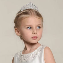 1pc Silver Rhinestone Crystal  Girl Kids Headdress  Tiara  Crown Princess Headdress Hair Hoop