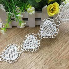 3 Yards Lovely Heart Lace Trim Venice Lace Heart Appliques Fashion design for Cloth wedding Purse bag doll dress -QD