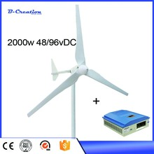 wind turbine generator 3.2m rotor diameter with wind solar controller 2.5m/s start wind speed 2000W/2KW 48V/96V DC three phase